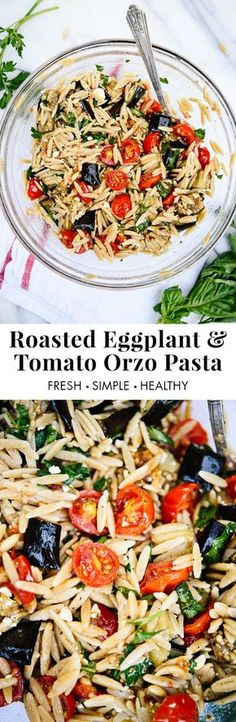 Roasted eggplant, tomato and feta pasta! It's a super easy and healthy weeknight dinner. http://cookieandkate.com