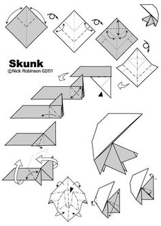 origami skunk Origami Instructions, Step By Step Instructions, Origami For Dummies, Animal Hand Puppets, Origami Artist, Nick Robinson, Forest Creatures, Oragami, Work Activities