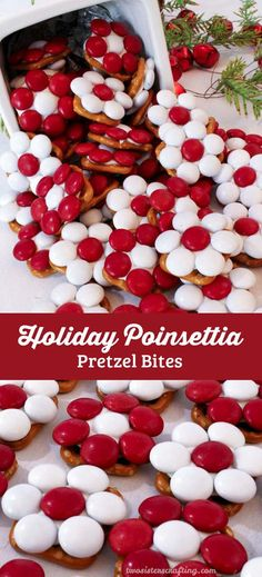 These adorable Holiday Poinsettia Pretzel Bites will be everyones favorite Christmas Treat - so easy to make and so delicious. They are yummy bites of Holiday themed sweet and salty goodness. You wont be sorry if you add these colorful treats to your list Best Christmas Desserts, Holiday Snacks, Christmas Party Food, Christmas Cooking, Christmas Goodies, Christmas Holidays, Holiday Recipes, Christmas Ideas, Christmas Treats To Make