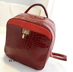 stacy bag women leather backpack female lock small casual travel backpack ladies vintage crocodile pattern travel backpack $10.00