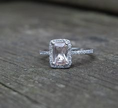 1ct Cushion emerald Champagne peach sapphire in a 14k white gold diamond ring