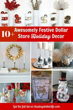 Save money this year with these DIY Dollar Store Christmas decorations that are incredibly cute & easy! Christmas Tree Ornaments, Christmas Crafts, Christmas Decorations, Table Decorations, Holiday Decor, Winter Wood Crafts, Dollar Store Christmas, Decor Crafts, Dollar Stores