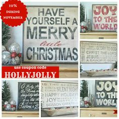 10% Off these cute Christmas signs in her Etsy Shop during November