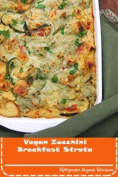 recipes breakfast Vegan Zucchini Breakfast Strata A delicious, soy-free vegan zucchini breakfast strata with mashed potatoes and basil lemon cream. Perfect to eat any time of the day. Zucchini Breakfast, Breakfast Desayunos, Vegan Breakfast Recipes, Vegetarian Recipes, Vegan Zucchini Recipes, Vegetarian Breakfast, Vegan Zucchini Boats, Breakfast Ideas, Zucchini Pizzas
