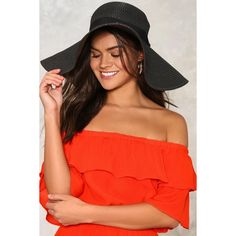 Nasty Gal The Last Straw Floppy Hat ($20) ❤ liked on Polyvore featuring accessories, hats, black, floppy hat, floppy straw hat, crown hat, dome hats and ribbon hat