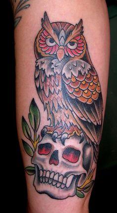 owl on skull by Paul A. Dobleman
