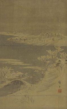 ".:. ""Landscape of the season: Winter"", Utagawa Hiroshige II (1826-1869) - 1850s. - Color on silk."