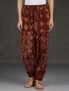 Buy Madder-Black Ajrakh Printed Elasticated Waist and Hem Cotton Harem Pants Online at Jaypore.com