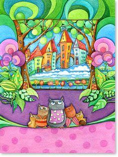Aquarell Eulen Stadt - Wandbilder fürs Kinderzimmer