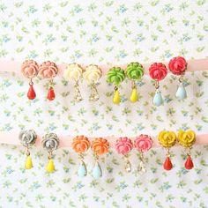 Flower Post earrings Rose earrings by NestPrettyThingsShop on Etsy