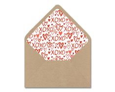 DIY Valentine Printable Envelope Liner Template Valentine's Day XOXO