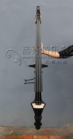 Бас большой электронный бас контрабас сплит цельный вал черного дерева