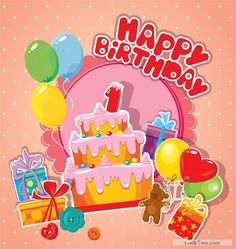 Free Baby birthday card with cake vector material 01  vector download