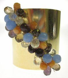 New NUGAARD Designs Gold Plated Multi Color Agate Quartz Topaz Cuff Bracelet | eBay