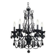 Off Mischief Black Five Light Chandelier by AF Lighting. @ The 5 light Mischief chandelier is elegantly design in all black glass prisms and beads. @ Measuring 26 Inch H x 21 Inch W this chandelier requires 5 candle base bulbs and must be hardwired. Candle Chandelier, 5 Light Chandelier, Beaded Chandelier, Gothic Chandelier, Closet Chandelier, Chandelier Makeover, Victorian Lighting, Closet Lighting, Foyer Lighting