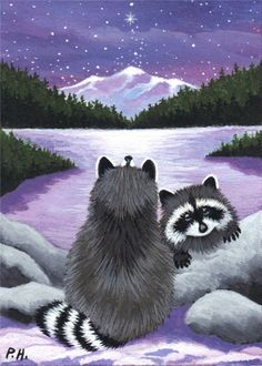 ACEO, PRINT, RACCOON, STARS, LAKE
