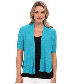 Jones New York 1/2 Sleeve Open Front Cardigan Tahiti Turquois - 6pm.com