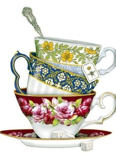 We are delighted with the new Tea Cup dish towels. Designed by Mary Lake Thompson, featuring a delicate stack of antique floral teacups! Dish Towels, Tea Towels, Victorian Teacups, Images Victoriennes, Tee Kunst, Vintage Tee, Cup Art, Cotton Napkins, Cloth Napkins