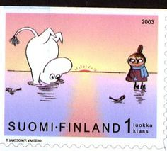Moomin postage stamp from Finland Postage Stamp Design, Postage Stamps, Tove Jansson, Animated Cartoons, Little My, Mail Art, Stamp Collecting, Helsinki, Illustrators