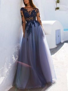 A Line Scoop Neck Long Sleeves Floor Length Prom Dress With Lace Applique, Long Sleeves Formal Dresses, Graduation Dresses #promdress #purplepromdress #lacepromdress #promdress2018 #longsleeves #dressesforprom #bluepromdress #graduationdress #graddress
