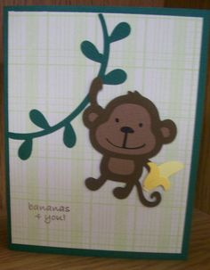 Bananas 4 You! Cricut Card made using Create A Critter Cricut Cartridge and My Pink Stamper stamp