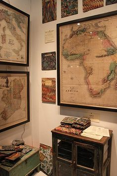 These beautiful antique maps would look great on a study or living room wall. They're available from foldingmaps.co.uk
