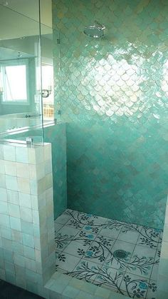Fish/mermaid scale bathroom tiles, fitting and whimsical - plus, beautiful colour :-)