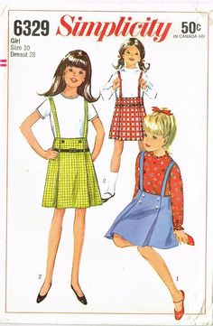 1960s Vintage Girl's Skirt & Blouse Unused 1965 Simplicity Sewing Pattern Sz 10 #Simplicity #SkirtandBlosue