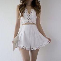 White Halter V Neck Top With Floral Crochet Skirt-SheIn