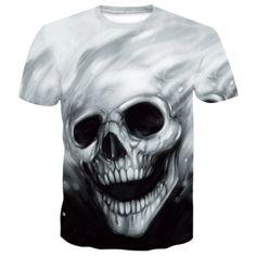 Skull Fading T-Shirt | Skullflow 3d T Shirts, Casual T Shirts, Skull Shirts, Online Shopping, Loose Shorts, Skull Print, Unisex, Printed Shorts, Short Sleeve Tee