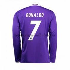 Fodboldtrøjer La Liga Real Madrid 2016-17 Ronaldo 7 Udebanetrøje Langærmede