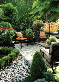 Patio seating in a lush and inviting garden