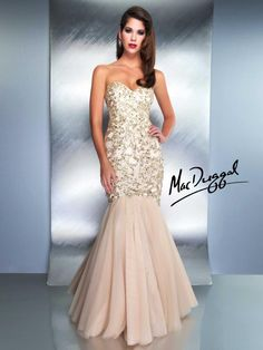 White and Gold Wedding. Gold Bridesmaid Dress. Soft and Romantic. Mermaid Dress With Strapless Sweetheart Cut - 1149D | Mac Duggal