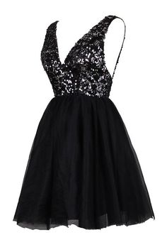 Sexy A-line V-neck Knee Length Tulle Prom/Homecoming/Cocktail Dress with Sequins TLHD2015062302