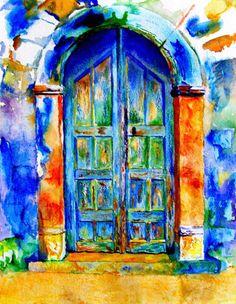 Greek Doors. Watercolour