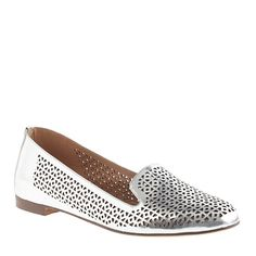 Silver J Crew loafers with perforated cut outs - my Metallic, my shoe shape and I love the cutouts!