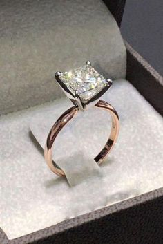 e03f8748f7a8 2.00Ct Princess Cut Diamond Unique Engagement Ring in Solid 14K Rose Gold  Over   Jewelry
