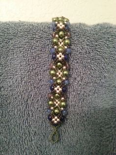 Blue and green bracelet by me..