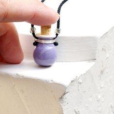 DIFFUSER NECKLACE, diffuser jewelry, diffuser pendant, essential oil diffuser necklace, diffuser locket, Wearable Clay, purple pendant