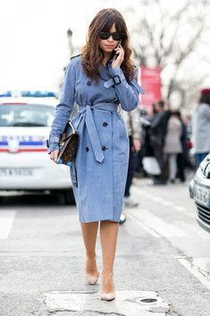 Style POP: Switch out the classic beige trench coat for a pale blue one for that POP of color.