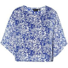 White and Blue Floral Print Wide Sleeve Boxy Shell Top