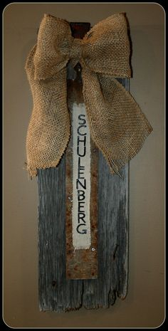 Custom wall hanging and custom embroidery with items from their barn