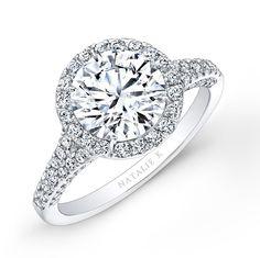 18k White Gold Pave Diamond Halo Engagement Ring - 18k White Gold Pave Diamond Halo Engagement Ring