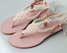 Luz Tan Macrame y sandalia de cuero rosa verano sandalia por Sheeso