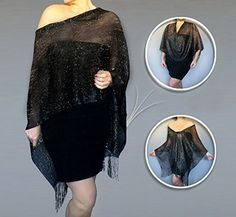 Black Evening Wrap :: Semi Sheer Black Shawl With Silver Specks. This semi-sheer black shawl is a great accessory for those who want to show a little skin without feeling exposed. With its unique elastic neckline, you can easily adjust a ZiiCi shawl to fit dozens of different ways. Just pull the inner cord lock and in an instant you've got a whole new outfit. This year-round product has dozens of applications: strapless top, shawl, stole, tunic, cape, pashmina scarf, open vest, halter top...