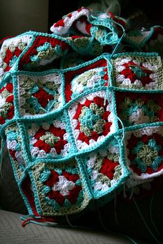 Red and Aqua Granny Squares