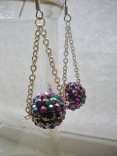 Purple Rhinestone Ball Earrings
