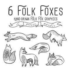 Illustrated Fox Clipart Graphics, Sketched Folk Foxes Clip Art, Instant Download, Indie Illustration Style, Hand Drawn, Line Art