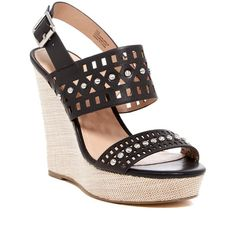 Charles By Charles David Aloof Ankle Strap Wedge Platform Sandal ($60) ❤ liked on Polyvore featuring shoes, sandals, wedges, strappy sandals, leather sandals, high heel sandals, strappy high heel sandals and adjustable strap sandals