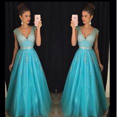V-Neck Beading Prom Dress,Long Prom Dresses,Prom Dresses,Evening Dress, Prom